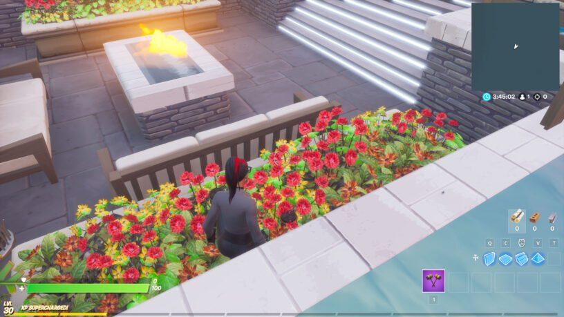 Beach ball in flower box near fire pit in Fortnite