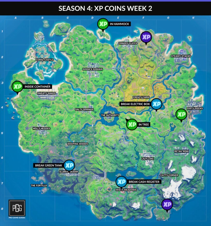 Fortnite XP coins map for Chapter 2 Season 4 Week 2