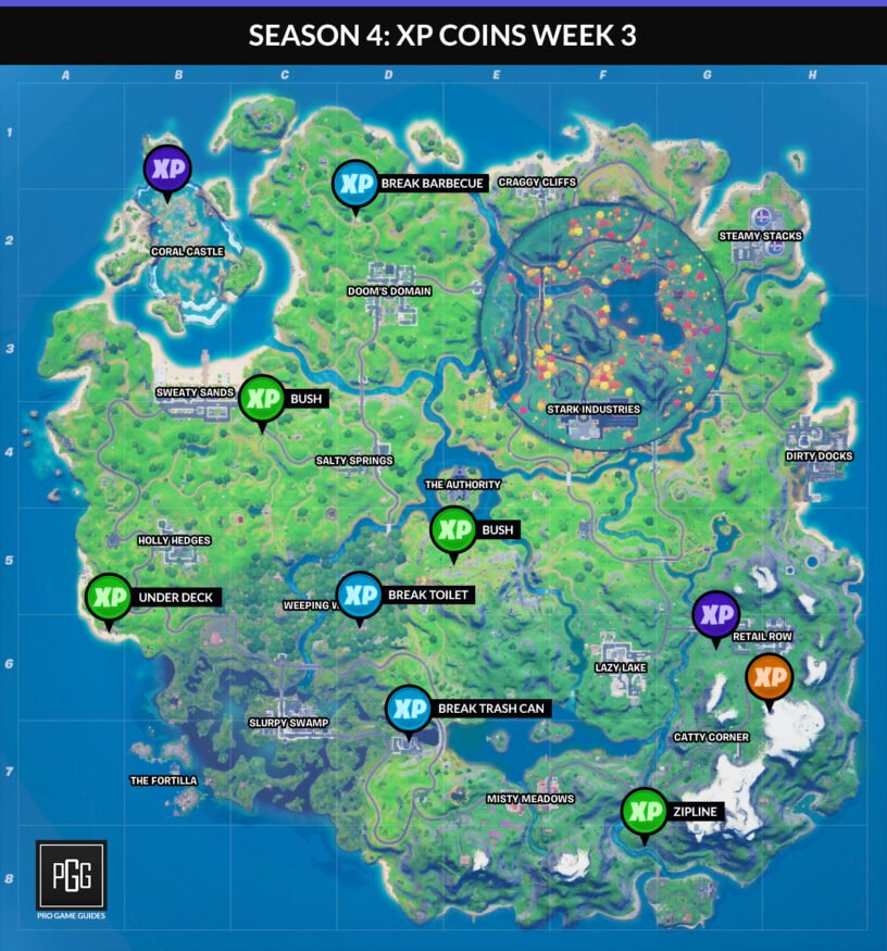 Fortnite XP coins map for Chapter 2 Season 4 Week 3