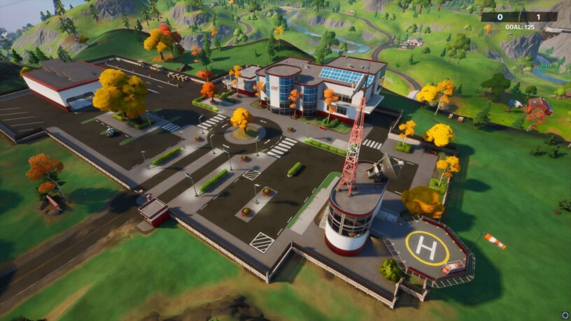 Fortnite Stark Industries POI in-game close up