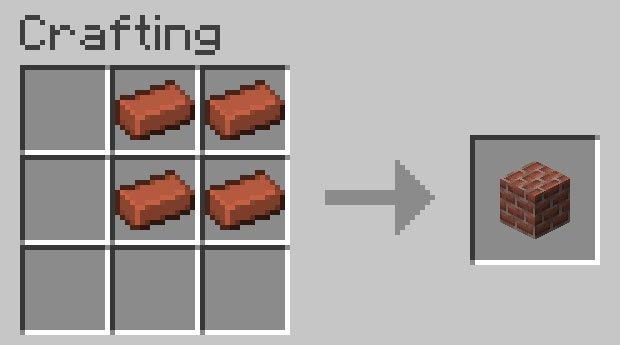 Crafting recipe for a brick block