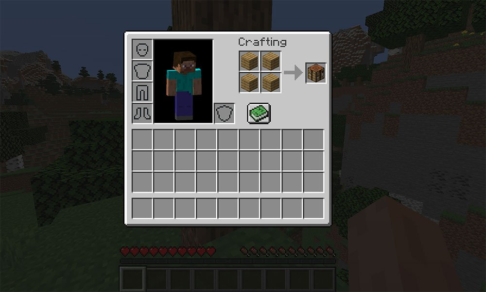 Crafting recipe for crafting table
