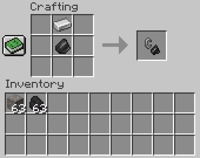 Crafting recipe for flint and steel