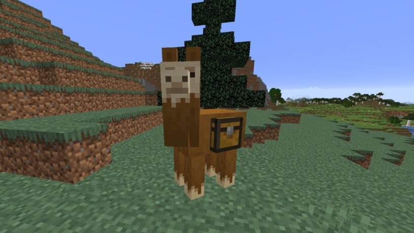 Llama with a chest attached in Minecraft