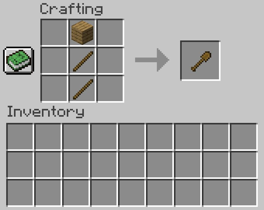 Crafting recipe for a shovel