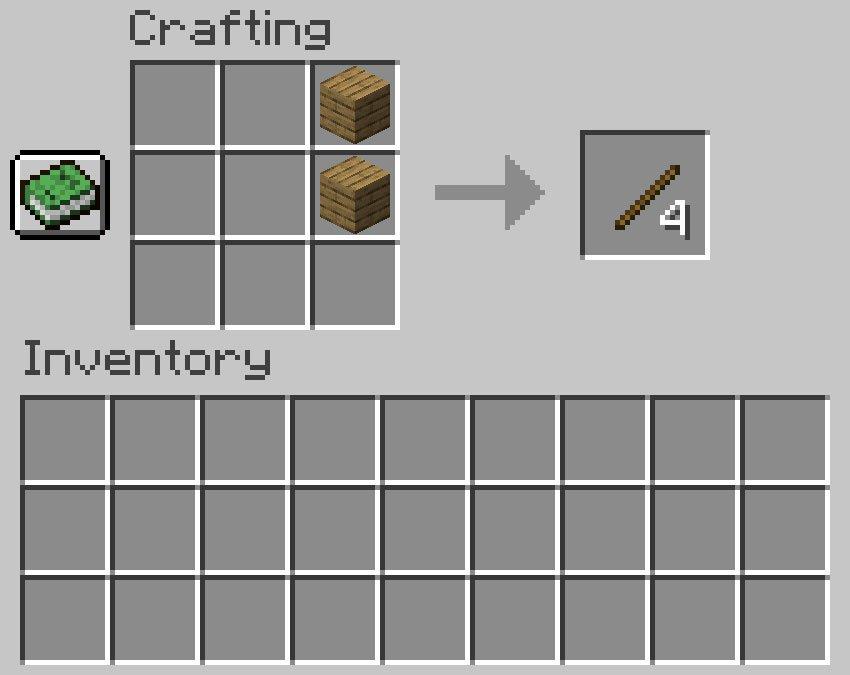 Crafting recipe for sticks